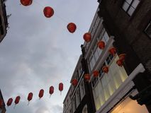 唐人街灯笼在伦敦,英国 免版税库存图片