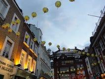 唐人街灯笼在伦敦,英国 库存图片
