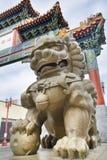 唐人街门的中国Mmale Foo狗监护人 库存照片