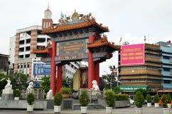 唐人街门Yoawarach在曼谷 免版税图库摄影