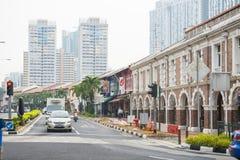 唐人街,新加坡双十国庆, 2015年:美好的历史的建筑学, shophouses在唐人街,新加坡 免版税库存照片