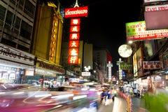唐人街,曼谷,泰国- 2017年4月27日:在中国镇曼谷汽车光足迹 免版税图库摄影