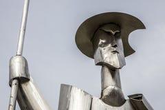唐吉诃德钢雕塑,普拉森西亚,西班牙 免版税库存图片