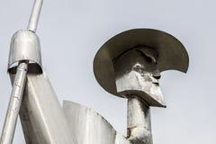 唐吉诃德钢雕塑,普拉森西亚,西班牙 库存图片
