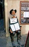 唐吉诃德雕塑保留在restaura前面的菜单 免版税库存照片