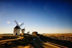 唐吉诃德风车孔苏埃格拉,托莱多西班牙 免版税库存图片