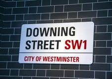 唐宁街的签到威斯敏斯特 伦敦英国 库存照片
