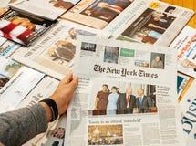 唐纳德・川普、贝拉克・奥巴马、梅拉尼亚王牌和米谢勒奥巴马inau 免版税库存照片