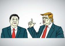 唐纳德・川普和习近平画象 美国和中国 外籍动画片猫逃脱例证屋顶向量 2017年7月29日 皇族释放例证