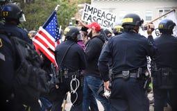 唐纳德・川普在伯克利加利福尼亚的言论自由争吵 库存照片
