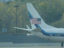 唐纳德・川普的在拉瓜地亚机场14的喷气机飞机 免版税库存照片