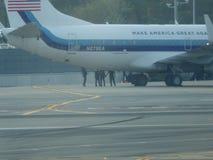 唐纳德・川普的在拉瓜地亚机场13的喷气机飞机 免版税库存照片