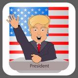 唐纳德・川普总统2016年的竞选的微笑手 总统椅子 战斗成功 反对背景美国fl 皇族释放例证