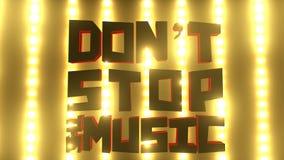 唐` t中止在一个明亮的音乐会的音乐标志点燃墙壁 股票视频