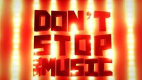 唐` t中止在一个明亮的音乐会的音乐标志点燃墙壁 影视素材