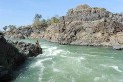 唐Khon海岛的湄公河老挝的 免版税库存照片
