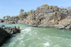 唐Khon海岛的湄公河老挝的 免版税库存图片