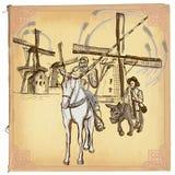 唐Quijote (唐吉诃德) -一个手拉的传染媒介剪影,徒手画 库存例证