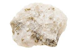 唬弄金子,硫铁矿,在石英 免版税库存照片