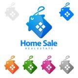 售屋、房地产传染媒介商标设计、抽象大厦和家有的线形代表了独特,强和现代真正的e 免版税库存照片