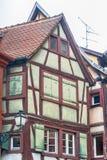 唯一半木料半灰泥的房子在阿尔萨斯 库存照片