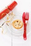 唯一圣诞节果子在白色背景的肉馅饼 免版税库存照片