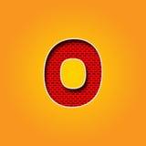 唯一在橙色和黄色颜色字母表的字符0零的字体 免版税库存图片