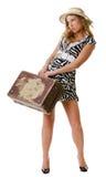 唯一妇女旅行 免版税库存照片