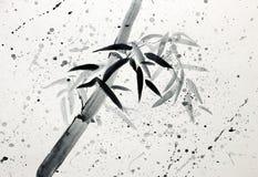 唯一竹子和雨珠 库存例证