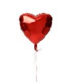 唯一红色大心脏金属气球为生日 库存照片