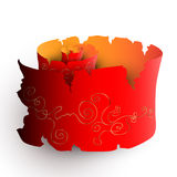 唯一红色被撕毁的foliant与金黄样式 向量例证