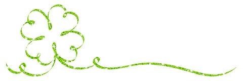 唯一绿色三叶草叶子丝带闪烁书法 皇族释放例证