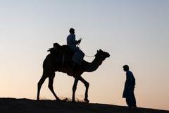 唯一骆驼车手和人身分现出了轮廓黄昏微明 库存图片