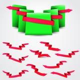 唯一织地不很细绿色丝带和桃红色箭头 库存例证