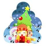 唱向量的圣诞节孩子 库存照片