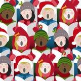 唱圣诞节的孩子颂歌无缝的背景 图库摄影