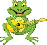 唱歌与吉他的青蛙 免版税图库摄影
