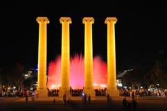 唱歌喷泉。 巴塞罗那。 免版税库存照片