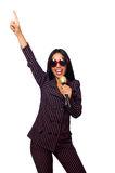 唱歌在卡拉OK演唱俱乐部的妇女隔绝在whie 免版税库存照片