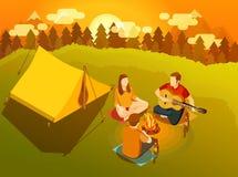 唱歌在营火等量例证附近的朋友 向量例证