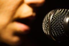 唱歌对话筒的妇女 库存图片