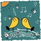 二只逗人喜爱鸟唱歌 免版税库存图片