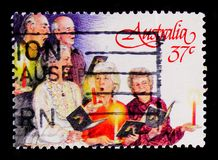 唱歌的圣诞节,圣诞节1987年serie,大约1987年 免版税库存照片