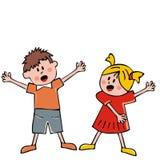 唱歌的孩子、女孩和男孩,传染媒介象 库存照片