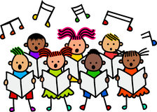 唱歌的孩子 免版税图库摄影