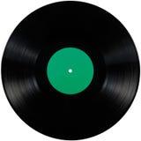 黑唱片lp册页圆盘,大详细的被隔绝的慢转盘,空白的空的绿色标签拷贝空间 免版税库存图片