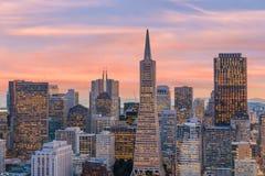 商业中心美丽的景色在街市旧金山 库存照片
