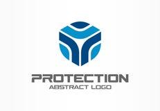 商业公司的抽象商标 公司本体设计元素 卫兵,盾,安全机构略写法想法 向量例证