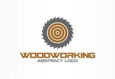 商业公司的抽象商标 公司本体设计元素 锯,木材加工,木物质略写法想法 皇族释放例证
