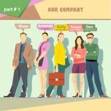 商业公司角色与上司、秘书、会计、网设计师和程序员的情况infographics 库存例证